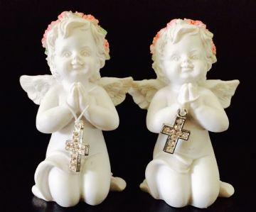 Cherub Pair PINK Praying with Jewelled Cross (Set of 2) 937334